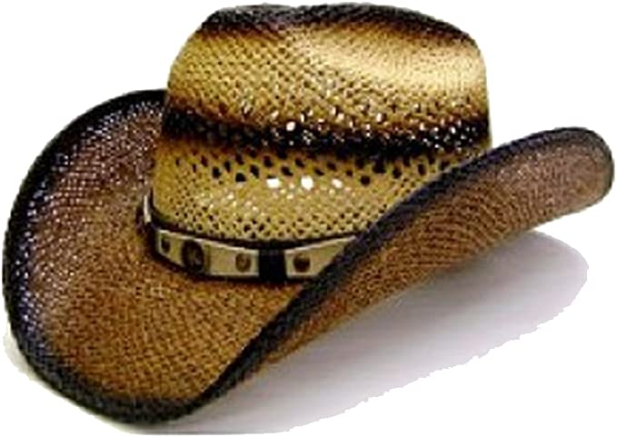 Modestone Twisted Toyo Open Weave Large Brim Straw Cowboy Hat Light Yellow