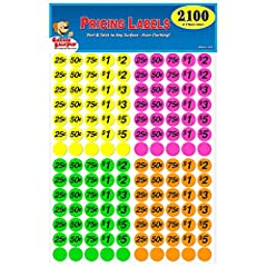 These pre-priced labels have been used by over 2 million consumers nationwide. Save time and make hosting your sale easy, fun and professional with these color coded pricing stickers. Labels stick to all surfaces, even clothing and are easily...