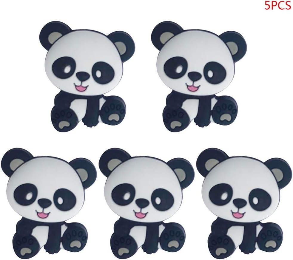 Anneau de Dentition Silicone- Panda Mignon sans BPA,Jouet /à M/âcher Bracelet B/éb/é Collier Pendentif Accessoires de Bricolage Rose Manyo 5 Pcs Perles Silicone B/éb/é