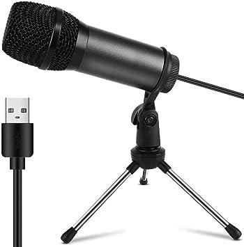 Todo para el streamer: Mini Micrófono PC USB, Micrófono Computadora Condensador Portatil Plug & Play con Soporte Trípode & Filtro Pop para Grabación Vocal/Skype/Podcasting/Video de Youtube (Laptop,Ordenador, PS4, Mac)