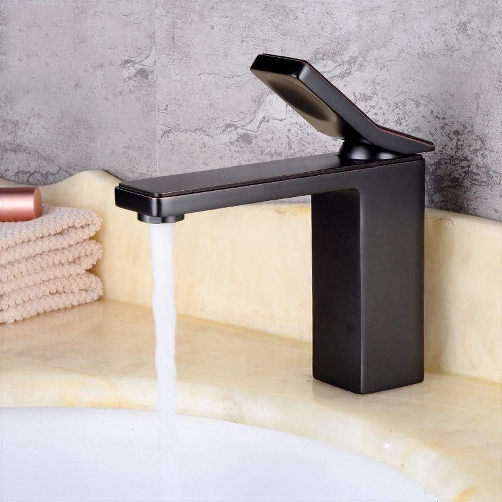 月蓮 銅のヨーロッパの洗面器の蛇口の浴室の洗面器の温水と冷水の混合黒単穴の蛇口 (Size : Black with red edges)