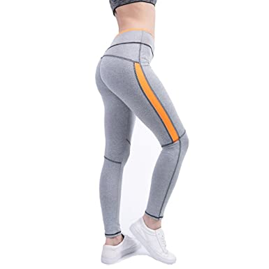 fc0df8ac6b mewow Women's Yoga Leggings Fitness Quick Dry Stretchy Sweat Absorbing Workout  Pants (S, Grey