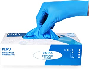 PEIPU Nitrile and Vinyl Blend Material Disposable Gloves, Powder Free, Cleaning Service Gloves, Latex Free, 100 PCS Large