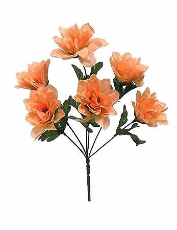 Amazon 72 dahlia flowers peach silk flower bush wedding bridal 72 dahlia flowers peach silk flower bush wedding bridal bouquet centerpiece mightylinksfo