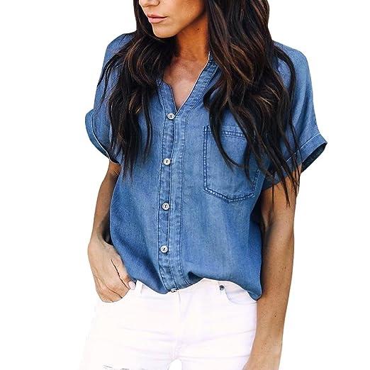 a67e874d53a Inverlee Women Casual Soft Denim Shirt Tops Blue Jean Button Short Sleeve  Blouse Jacket (S