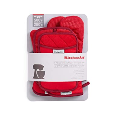 KitchenAid 4 Piece Kitchen Set w/Silicone 2 Oven Mitts, 2 Pot Holders (Red/Red)