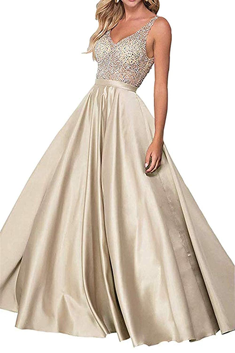 Champagne Sophie Women's ALine Long Prom Dresses Double VNeck Beaded Satin Evening Party Gowns S294