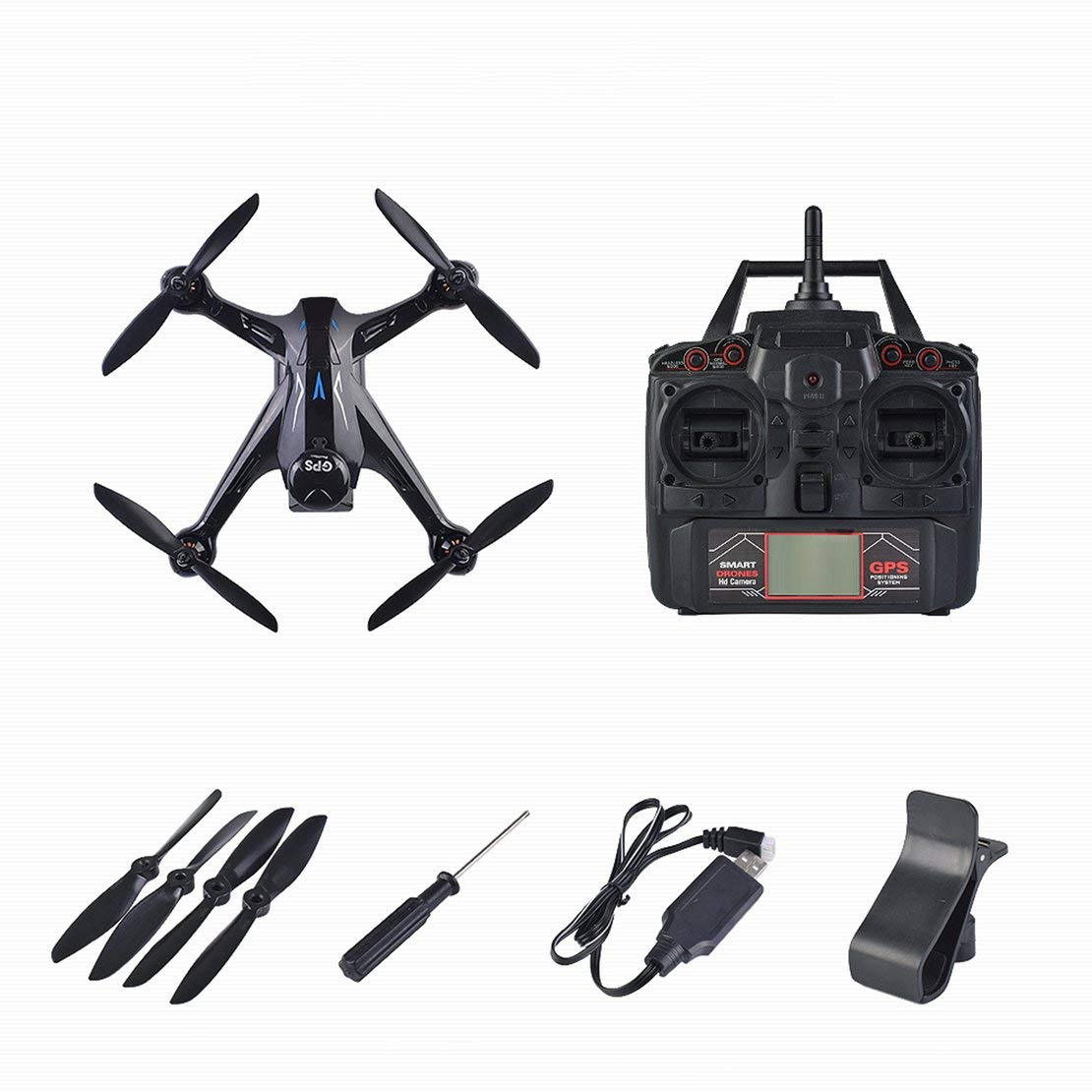 Sanzhileg 1080P Pixel-Fachmann GPS-Brummen mit 2.4G WiFi Kamera Quadrocopter Brushless RC Drone Ray X198 Vier Achsen-Flugzeuge - Schwarzes