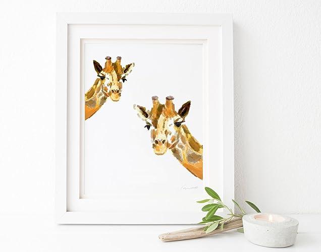 Amazon.com: Giraffes Watercolor Painting / Nursery Art / Giraffe ...