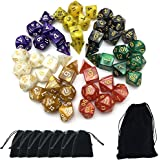 Smartdealspro 7 x 7-Die Series 7 Colors Symphony Dungeons and Dragons DND RPG MTG Table Games Dice with Free Pouches