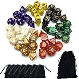 Product picture for Smartdealspro 7 x 7-Die Series 7 Colors Symphony Dungeons and Dragons DND RPG MTG Table Games Dice with Free Pouches by Wizards RPG Team