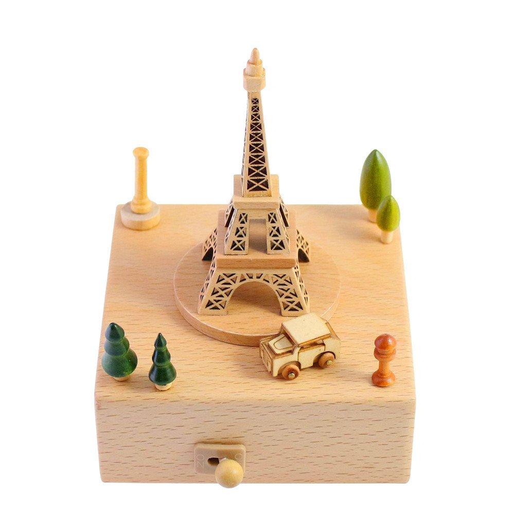 【高知インター店】 楽しい巻き上げ式木製オルゴール。メロディ携帯用圧力リリーフ。ホームデコレーション、誕生日、クリスマス、パーティ Tower、子供 Paris、友人、両親へのギフトに最適 B07GP1622Q。 5.9