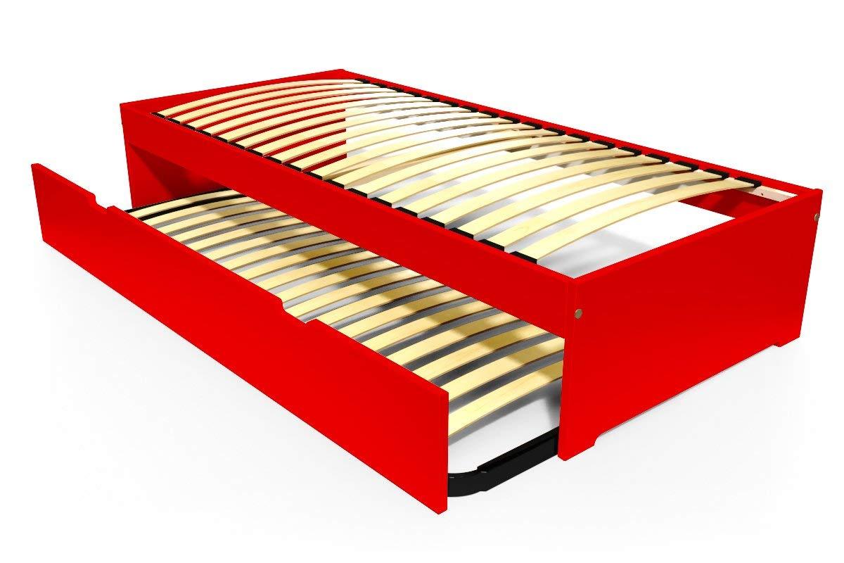 ABC MEUBLES - Ausziehbett Malo 90x190 cm Holz - TOPMALO90 - Rot, 90x190