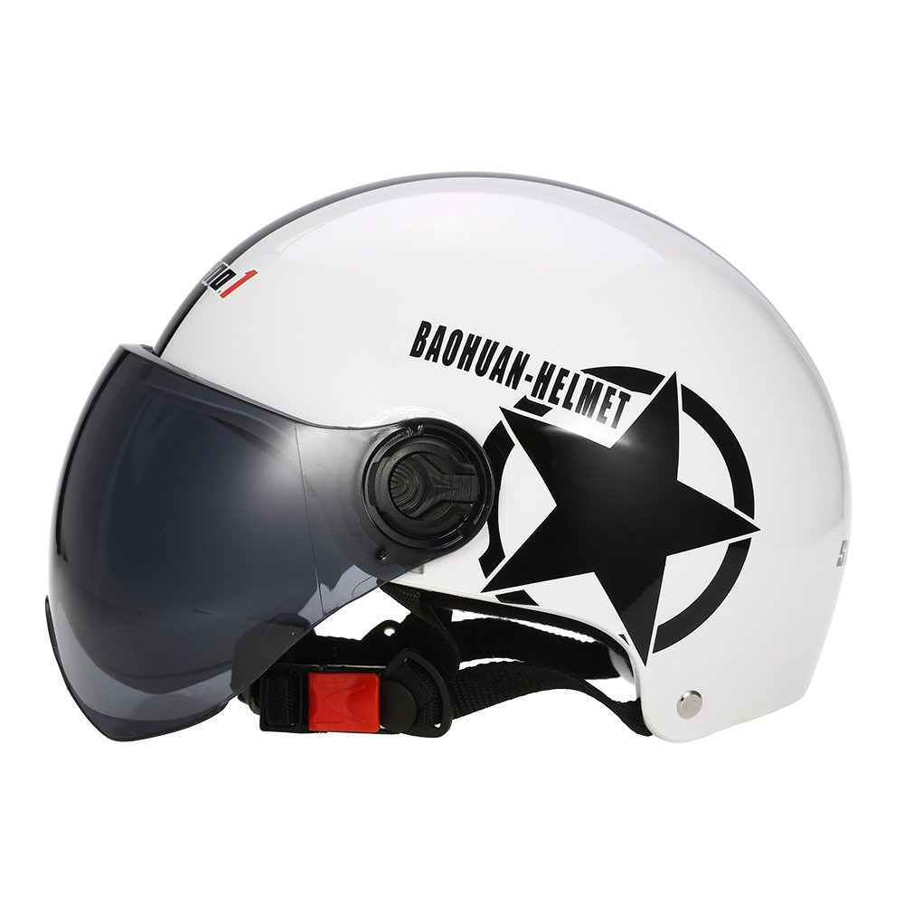KKmoon Moto Casque Moiti/é Face Ouverte Taille Ajustable Protection Gear T/ête Casques Lunettes Etoile /à Cinq Branches