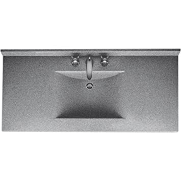 Swanstone Cv2249 042 Contour 49 Inch Solid Surface Vanity Top With Gray Granite Basin