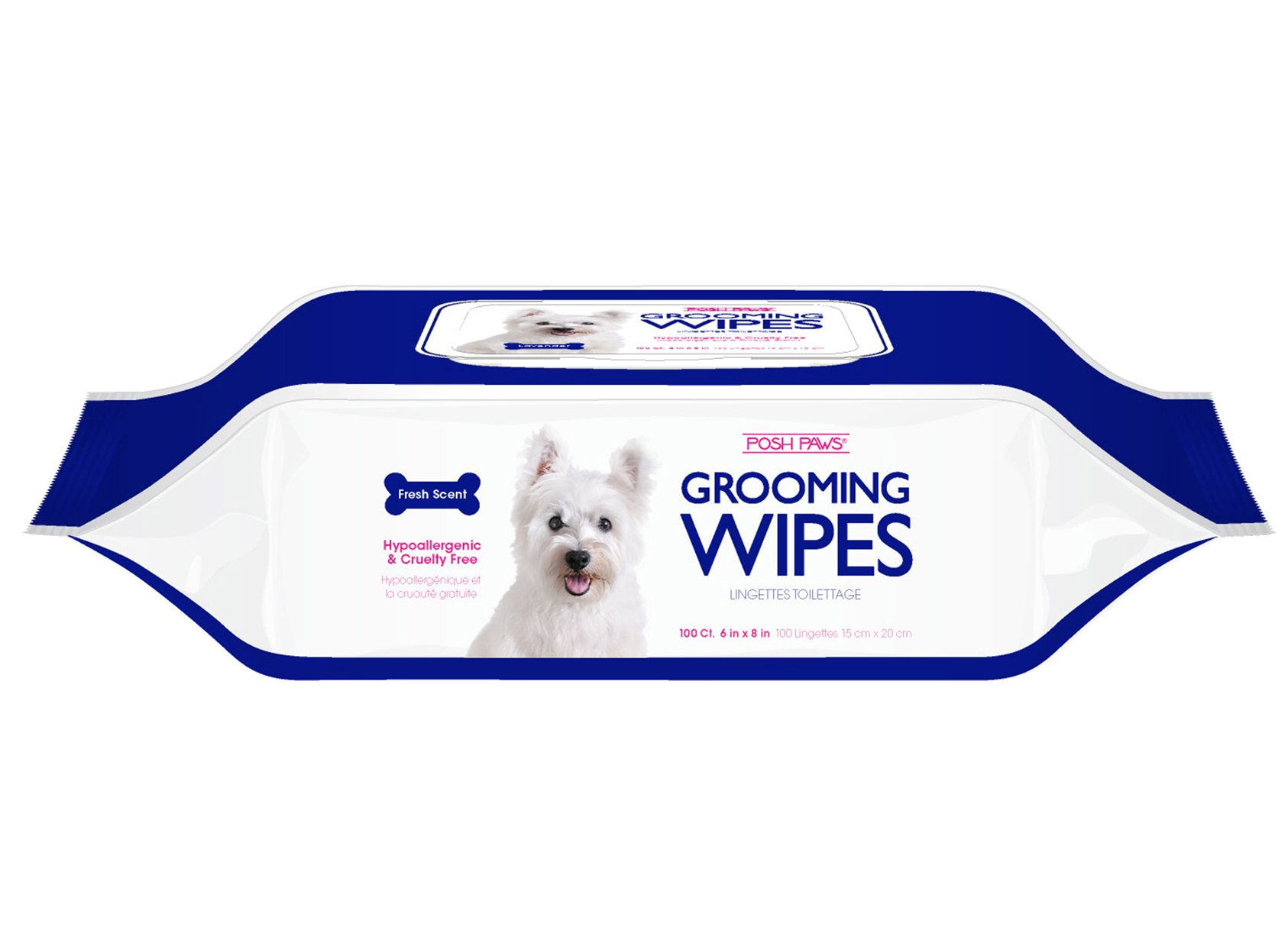 Posh Paws Hypoallergenic Pet Grooming Wipes (100-Count, Fresh Scent)