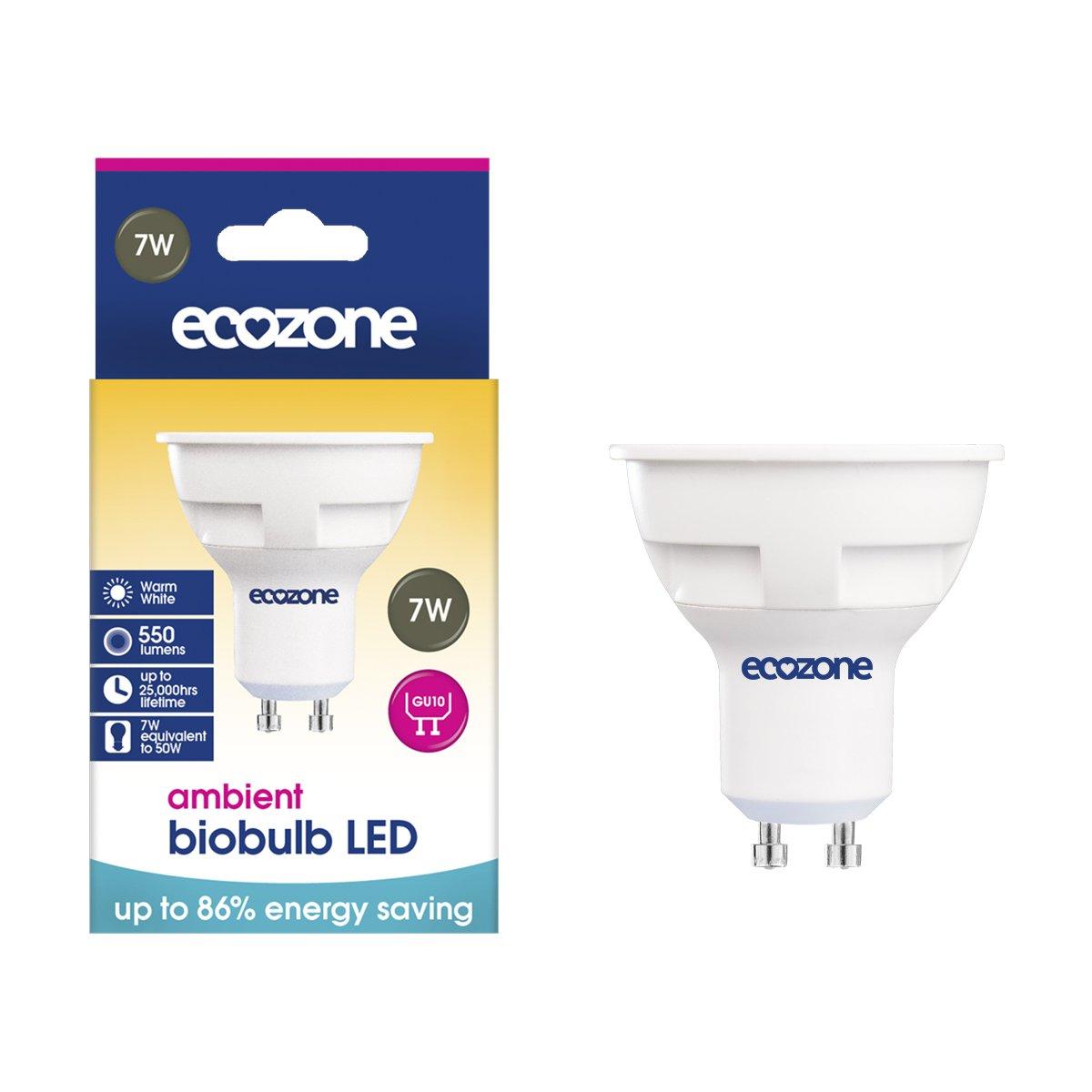 Ecozone LED Bio Bulb, Energy Saving, GU10 Fitting, Warm White, 7W Equivalent to 50W, 550 Lumens, 2700K Ambient, Up To 86% Energy Saving, Up To 25,000 Hours Lifetime, Energy Class A+ Ecozone Ltd BB23