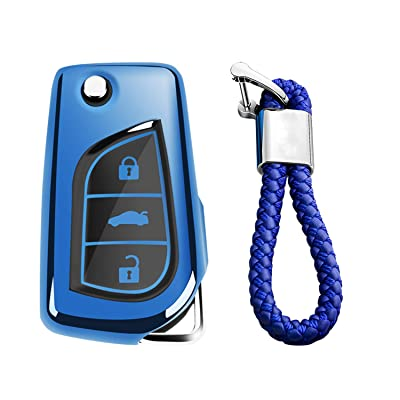 M.JVisun Soft TPU Case Cover Protector Case for Toyota Flip Key Fob, Car Remote Key Fob Case for Toyota Levin Camry Highlander Corolla RAV4 Fortuner Fob Remote Key - Glossy Blue - Braided Keychain: Automotive