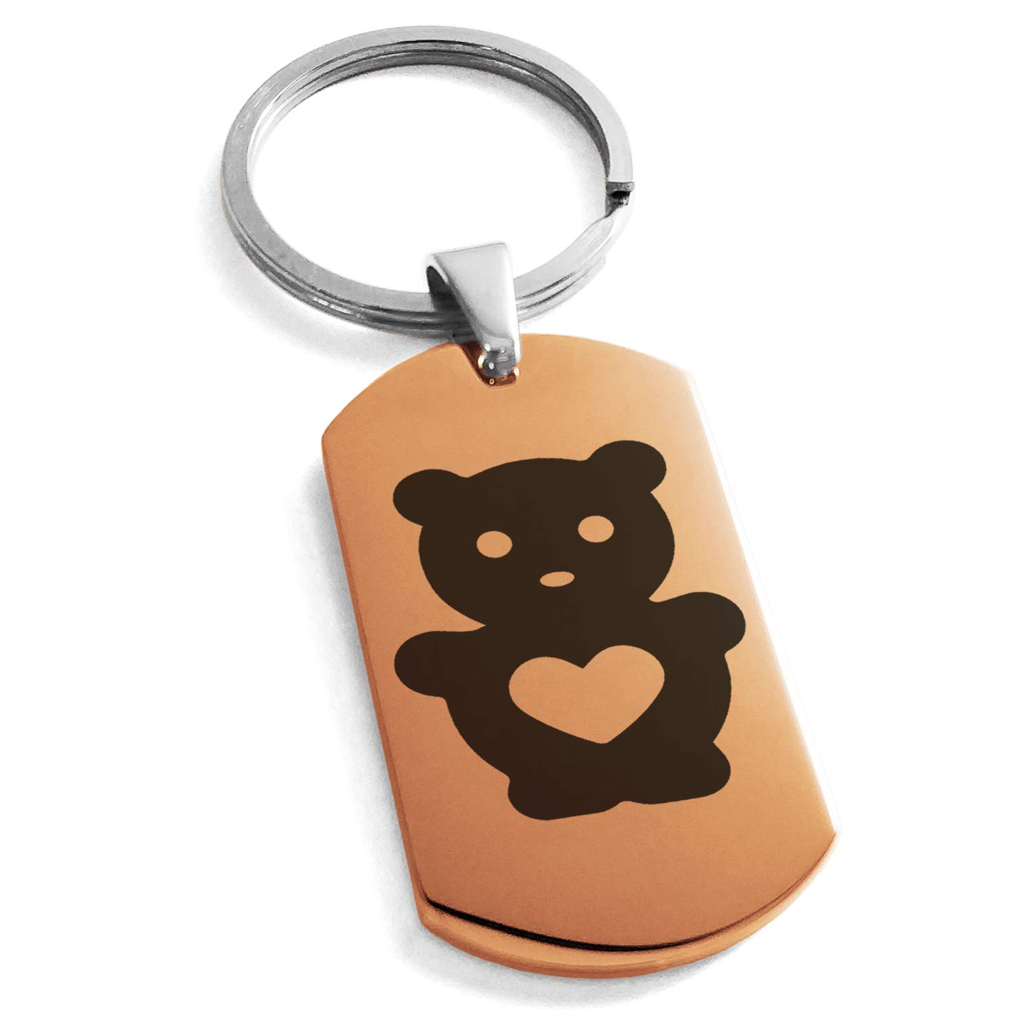 Rose Gold Stainless Steel Teddy Bear Love Engraved Dog Tag Keychain Keyring