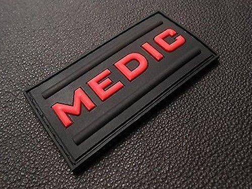 Medic Rubber 3d Pvc Paramedic Emt Ems Tactical Morale Black Ops Red Patch