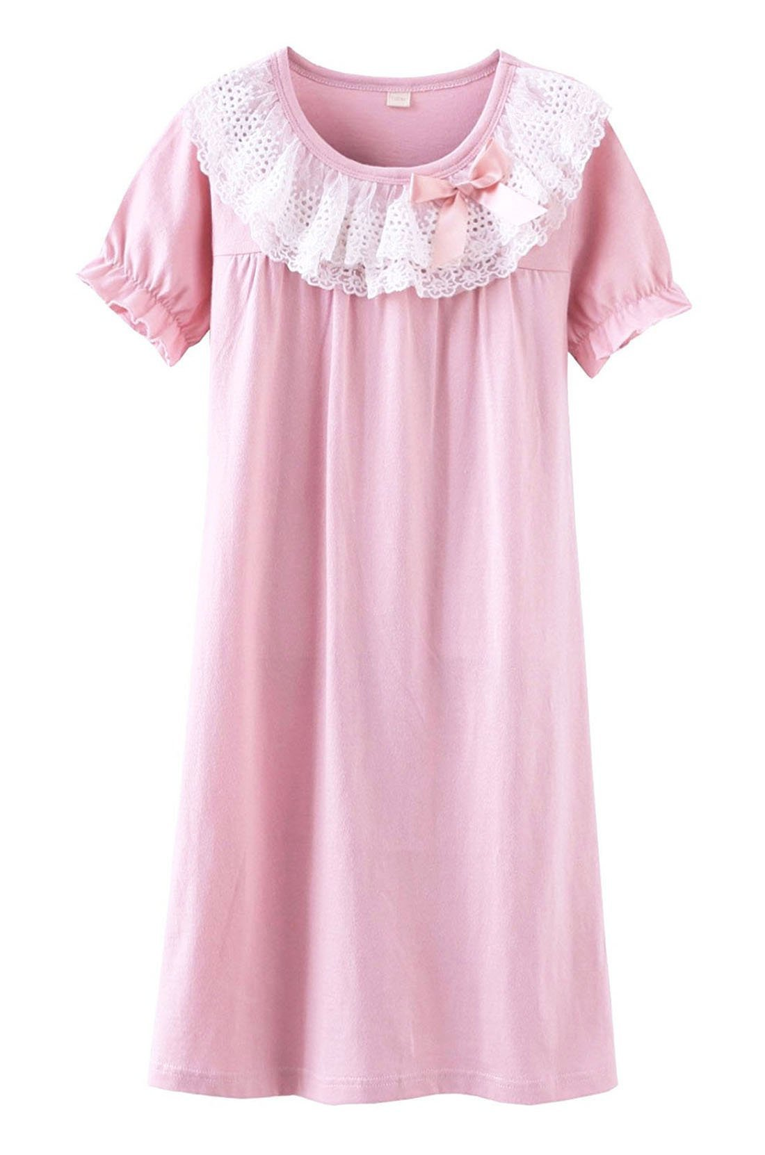 BAIYIXIN Fashion Store Girls Princess Lace Bowknot Nightgown Summer Cotton Sleepwear Dress Long Shirt, Pink, 6-7