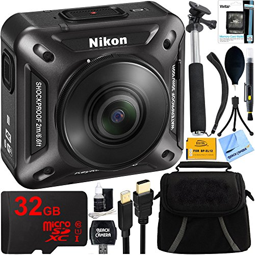 Nikon KeyMission 360 4K Ultra HD Action Camera with Built-in Wi-Fi + 32GB Micro SDHC Memory Card + Digital Compact Bag + 43