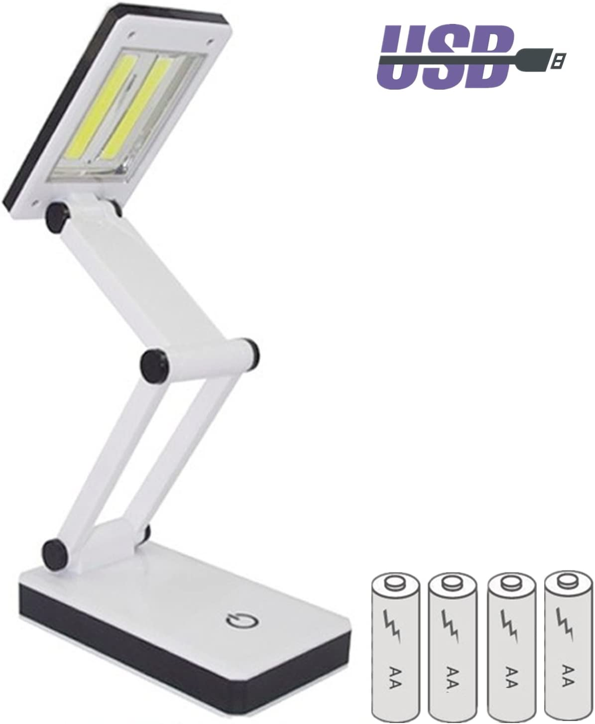 TAIYIdz Folding COB Desk Lamp, Eye-Care Portable USB Rechargeable Touch-Sensitive Control Brightness Battery included