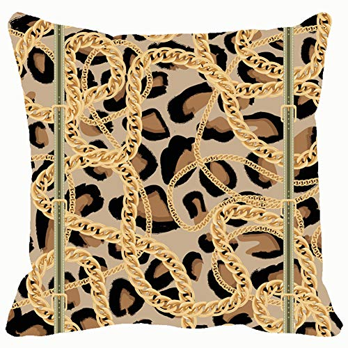 (Leopard Golden Chain Belt Wildlife animalbeauty Fashion Home Decorative Throw Pillow Case Cushion Cover for Gift Home Couch Bed Car 18