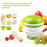Baby Food Mill Grinding Bowl Grinder Processor Multifunction Mash Prep Serving DIY Homemade 8 in 1 Set by Kolamom, White