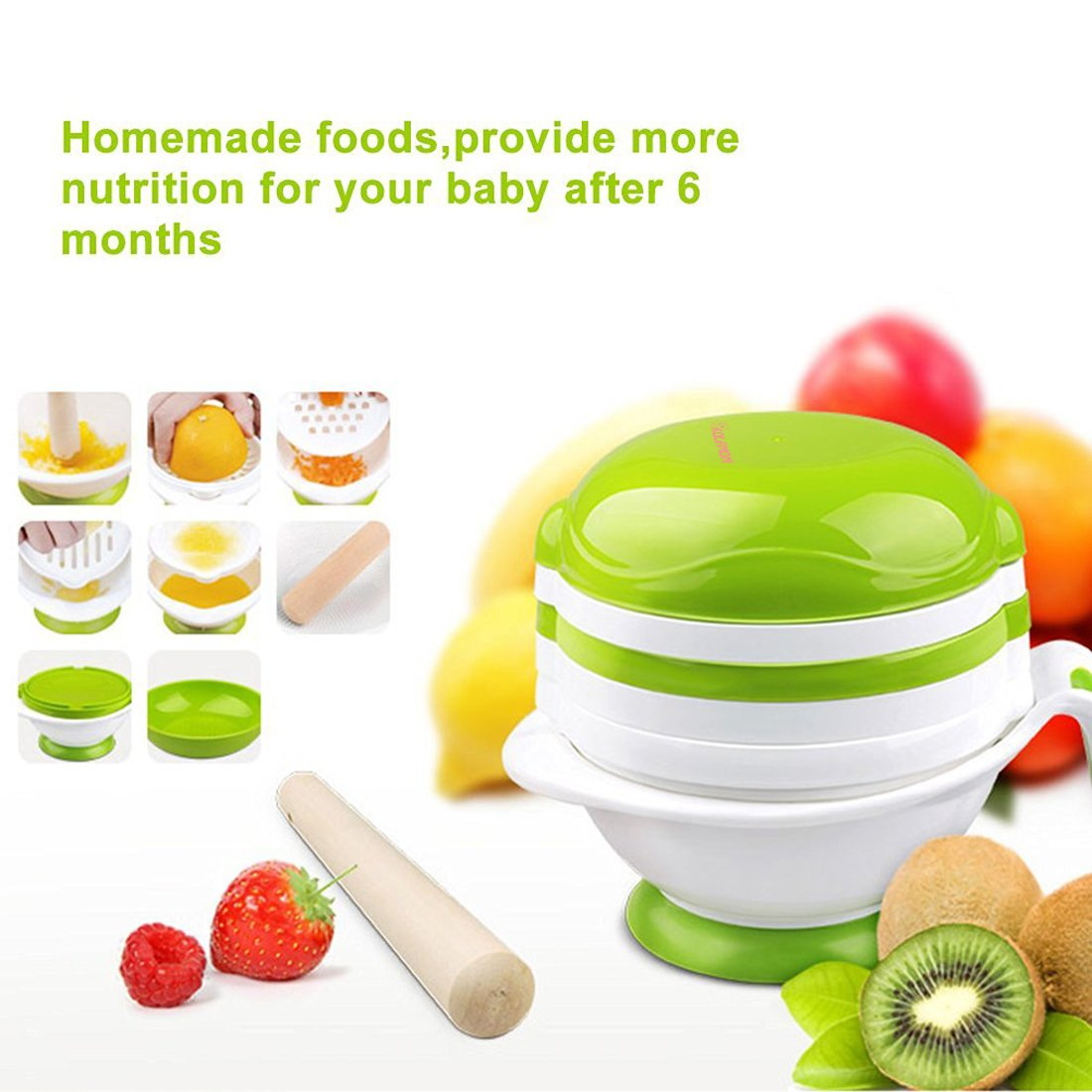 Baby Food Mill Grinding Bowl Grinder Processor Multifunction Mash Prep Serving DIY Homemade 8 in 1 Set by Kolamom, Upgrade