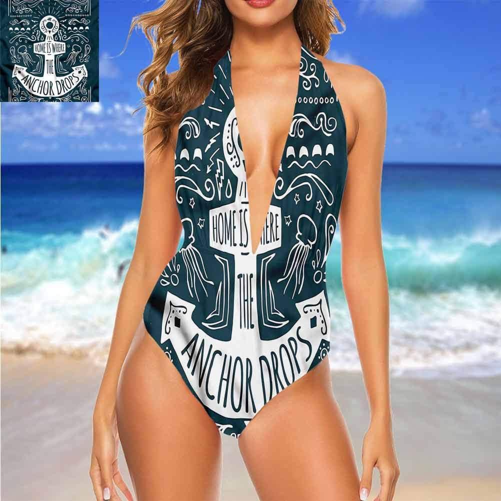 Adorise Maillot de bain Ancre, motif marin, s\'adapte parfaitement et doux Multicolore 12