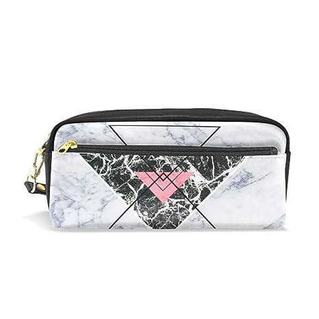 ISAOA - Estuche de gran capacidad y bolígrafo de piel sintética, diseño de mármol, color gris, con cremallera, para papelería, estuche, bolsa de ...