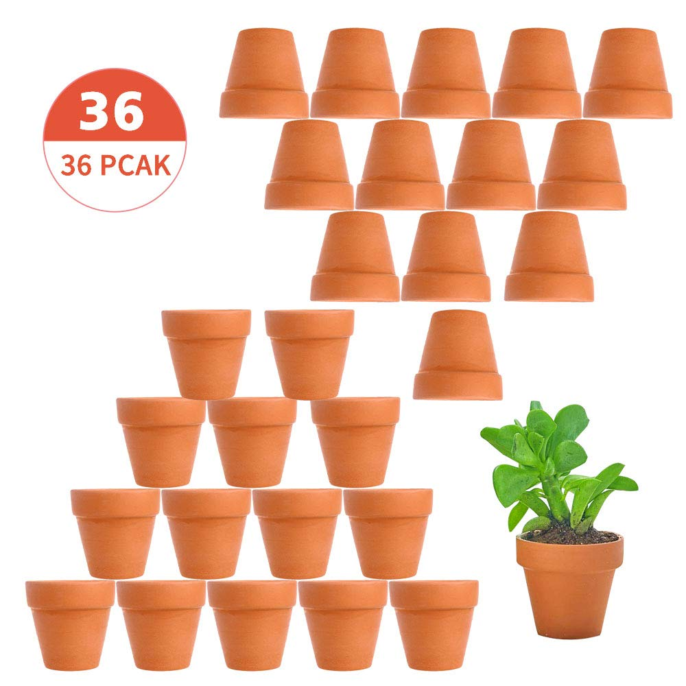 Tcamp 36 Pcs Terracotta Pot Clay Pots Clay Ceramic Pottery Planter Cactus Flower Pots Succulent Pot Drainage Hole- Great for Plants,Crafts,Wedding Favor Indoor/Outdoor Plant Crafts
