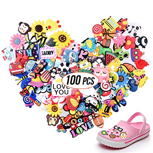 TUPARKA 100pcs Different Shape Shoes Charms Fits for Croc Clog Shoes Wristband Bracelet Party Gifts