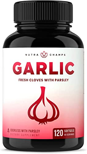 Odorless Garlic Pills Extra Strength Softgels 1000mg Immune Support Supplement – Heart, Blood Pressure Cholesterol Support Capsules – Enhanced w Parsley, Chlorophyll Aged Black Garlic Extract