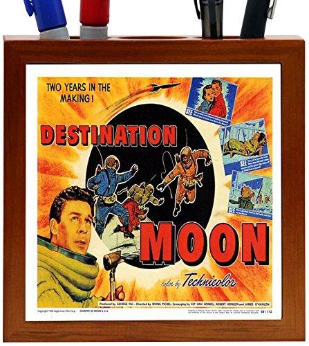 Rikki Knight Vintage Movie Posters Art Destination Moon 2 Design 5-Inch Wooden Tile Pen Holder (RK-PH3705)