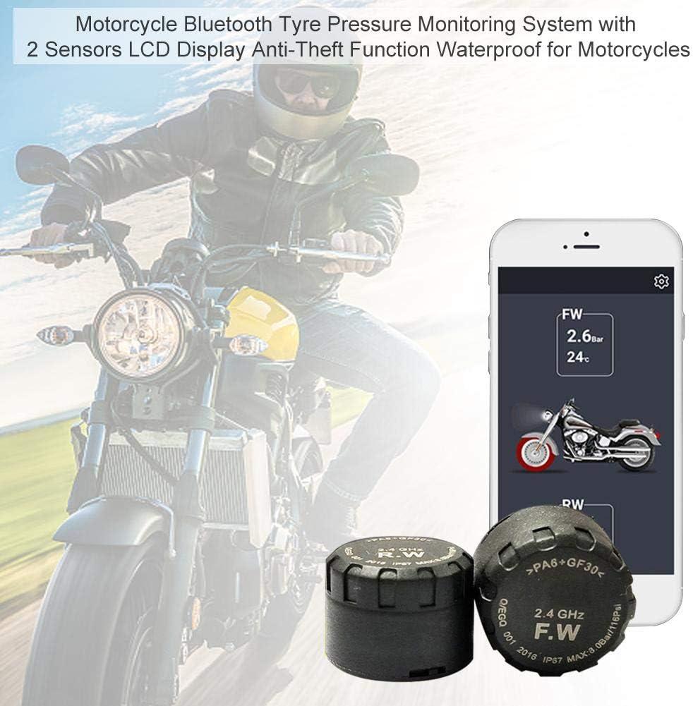 Chinejaper Motorrad Reifendruckkontrollsystem Bluetooth Handy App Drahtlose Reifendruckmesser Reifendruckprüfer Mit 2 Sensor Lcd Display Anti Diebstahl Wasserdicht Sport Freizeit