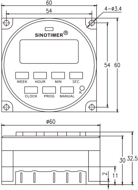 Dailyinshop SINOTIMER 220V Hebdomadaire 7 Jours Programmateur num/érique Programmateur de Relais pour appareils /électriques 8 R/églage on//Off Blanc