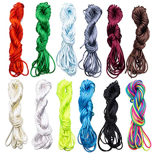 - BigOtters Satin Nylon Trim Cord, 2mm 120 Yards Craft Rattail Silk for Beading String, 12 Colors