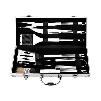 eseye 6 piezas acero inoxidable Barbacoa – Cubertería en maletín de aluminio, de gran calidad acero inoxidable Set de herramientas accesorios barbacoa ...