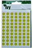 Ivy Stickers 232750 - Pegatinas con forma de círculo (8mm), color amarillo