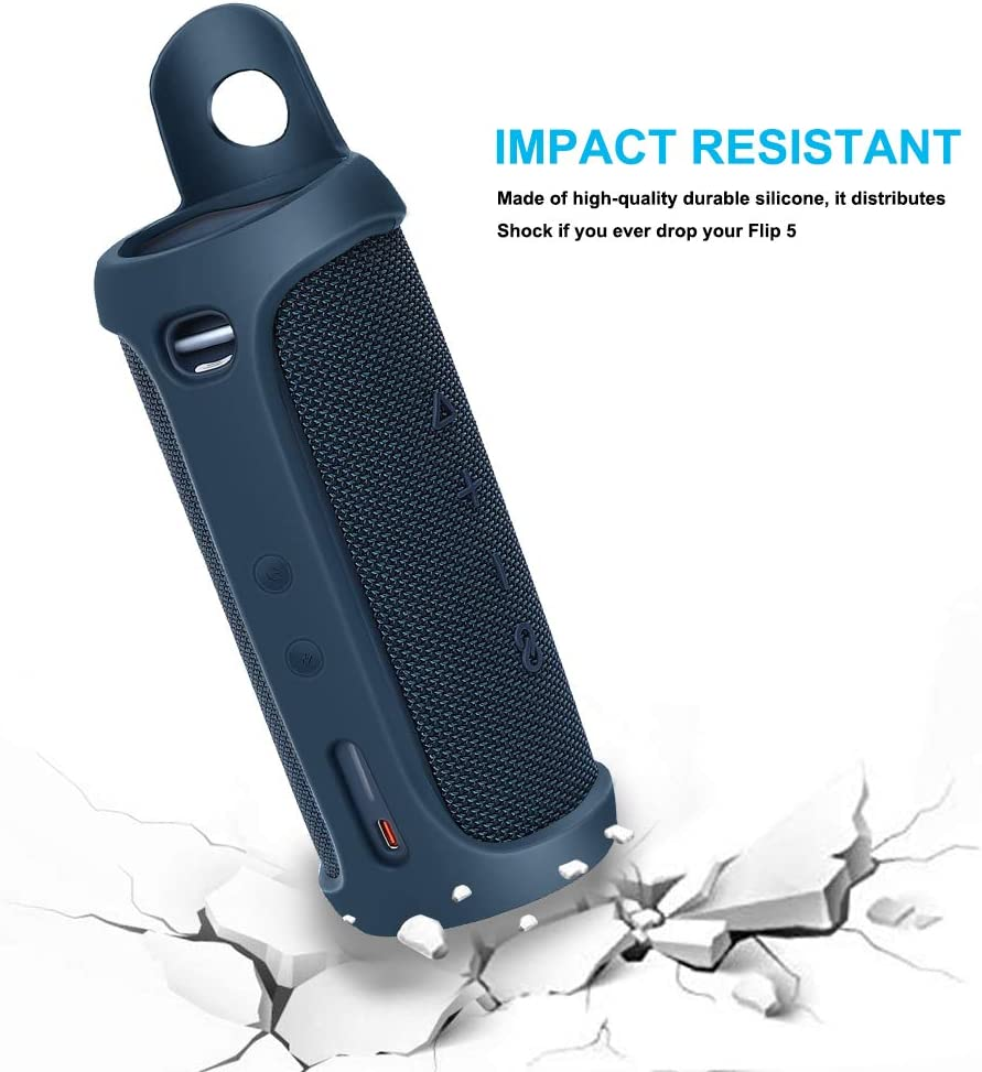 Blue RichSmile Silicone Carrying Travel Case for JBL FLIP 5 Waterproof Portable Bluetooth Speaker New Model with Extra Carabiner