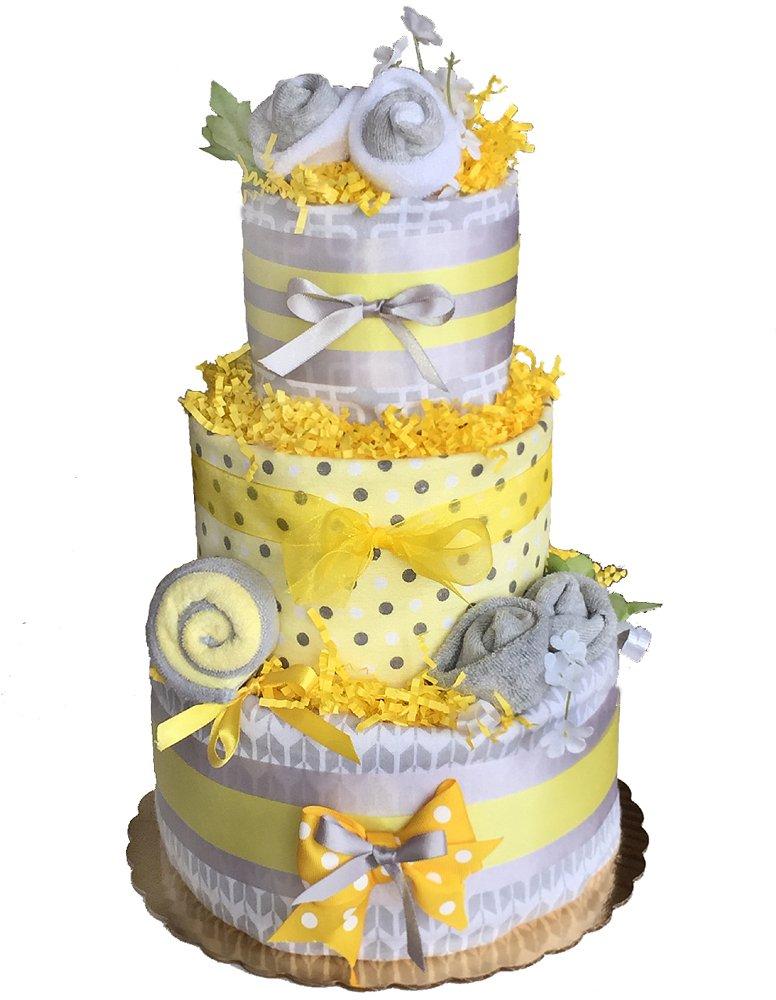 Yellow Gray Baby Diaper Cake