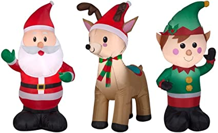 airblown inflatable outdoor christmas characters 3 piece set santa claus reindeer elf