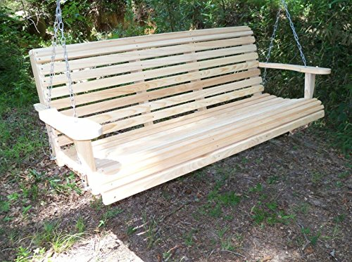 5 Ft ROLL BACK PORCH SWING made from Rot-resistant Select Louisiana Cypress Eternal Wood Made in the USA - Green Furniture - GO GREEN (Louisiana Cypress Swings)