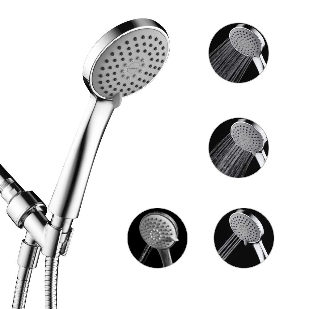JOYAQUQ Handheld Shower Head, 4-Setting High Pressure Showerhead With Powerful Shower Spray,60 Inch Rotation Stainless Steel Hose With Check Valve. Adjustable Bracket Holder