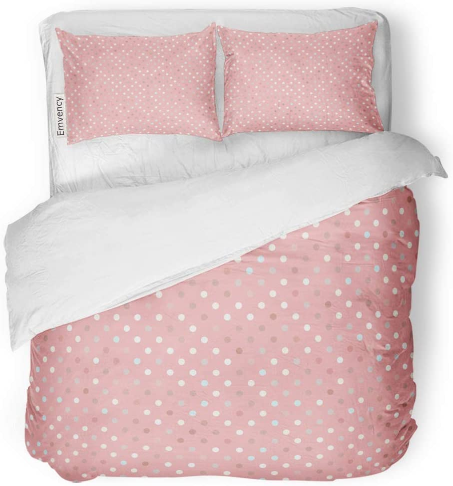 """Tarolo Bedding Duvet Cover Set Pink Abstract Pattern Polka Dot Trend Pastel Baby Border Bright Circle Color 3 Piece Queen 90""""x90"""" Quilt Cover with Zipper Closure"""