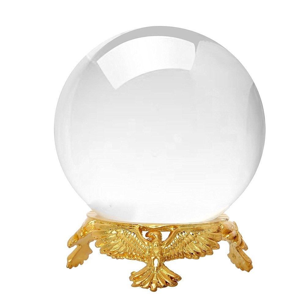 Amlong Crystal Clear Crystal Ball with 50mm (2 inch) Diameter with Gold Eagle Stand