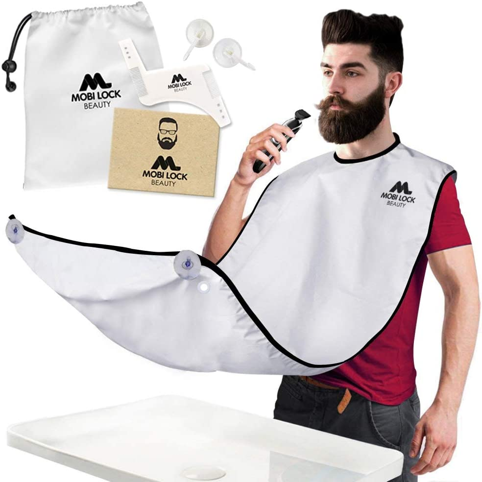 Best Beard Shaving Bib –The Smart Way to Shave – Beard Trimming Apron - Perfect Grooming Gift or Mens Birthday Gift – Includes Shaping Comb, Bag, and Grooming E-Book by Mobi Lock