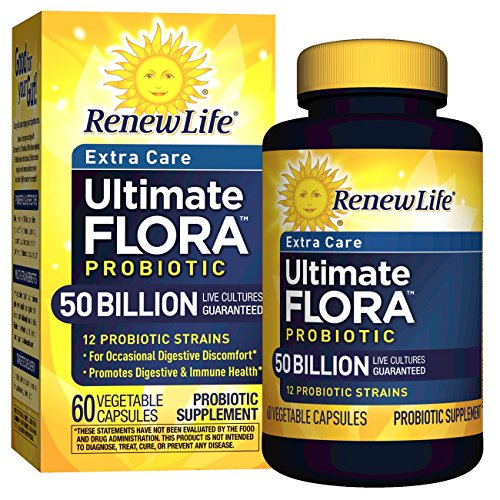 Billion 60 Capsules (Renew Life - Ultimate Flora Probiotic Extra Care - 50 billion - 60 vegetable capsules)